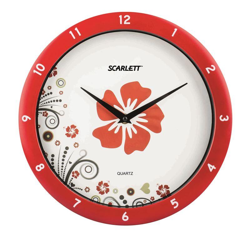 Часы настенные Scarlett, диаметр 27,5 см. SC - WC1003I94672Настенные кварцевые часы Scarlett, изготовленные из пластика, прекрасно впишутся в интерьер вашего дома. Круглые часы имеют две стрелки: часовую и минутную, циферблат защищен прозрачным пластиком. Часы работают от 1 батарейки типа АА напряжением 1,5 В (батарейка в комплект не входит). Диаметр часов: 27,5 см.