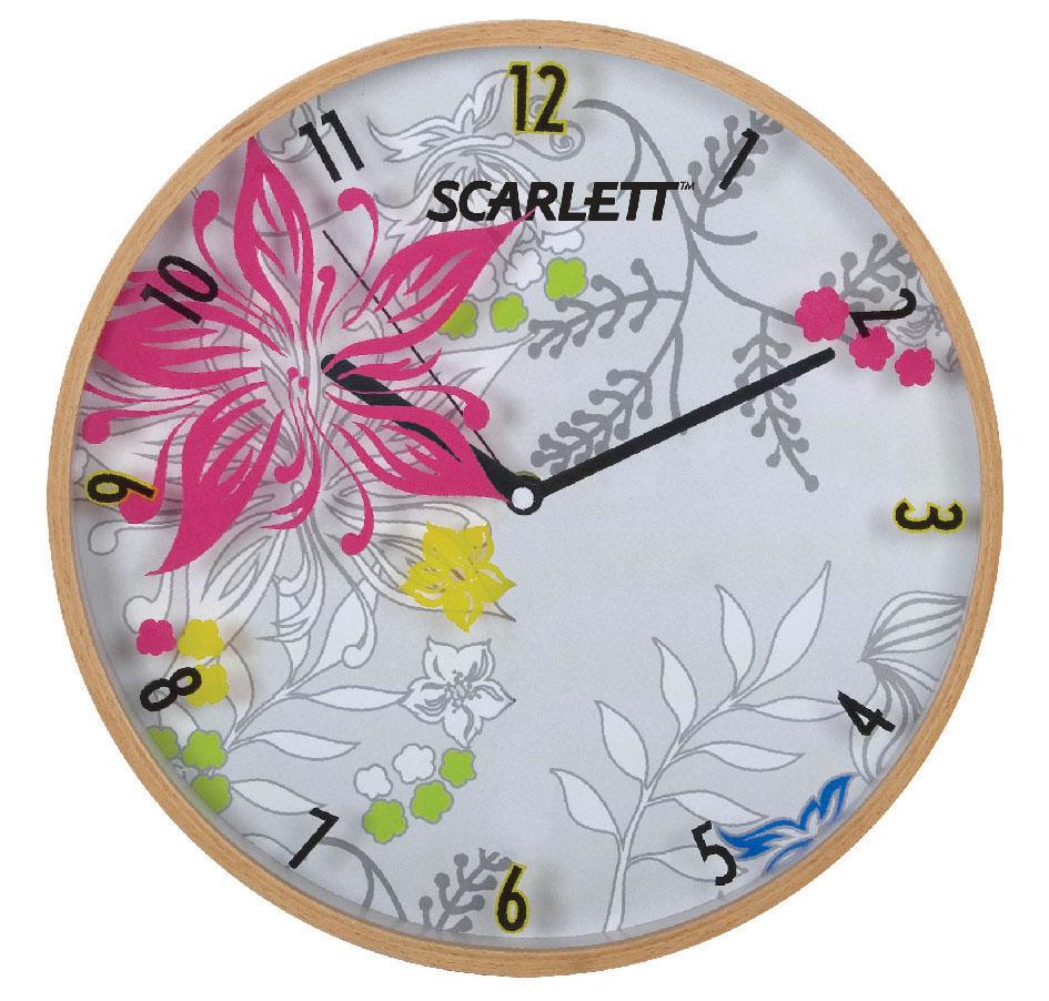 Часы настенные Scarlett, диаметр 30,5 см. SC - 33A94672Настенные кварцевые часы Scarlett, изготовленные из пластика, прекрасно впишутся в интерьер вашего дома. Круглые часы имеют три стрелки: часовую, минутную и секундную, циферблат защищен прозрачным пластиком. Часы работают от 1 батарейки типа АА напряжением 1,5 В (батарейка в комплект не входит). Диаметр часов: 30,3 см.