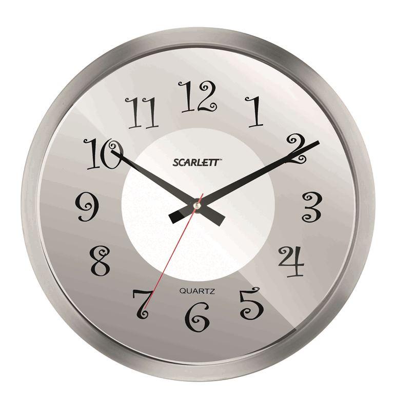Часы настенные Scarlett, диаметр 30,5 см. SC - WC1004I43408Настенные кварцевые часы Scarlett, изготовленные из пластика, прекрасно впишутся в интерьер вашего дома. Круглые часы имеют три стрелки: часовую, минутную и секундную, циферблат защищен прозрачным пластиком. Часы работают от 1 батарейки типа АА напряжением 1,5 В (батарейка в комплект не входит). Диаметр часов: 30,5 см.