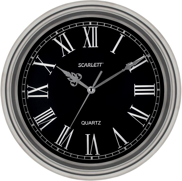 Часы настенные Scarlett, диаметр 33 см. SC - 27D94672Настенные кварцевые часы Scarlett, изготовленные из пластика, прекрасно впишутся в интерьер вашего дома. Круглые часы имеют три стрелки: часовую, минутную и секундную, циферблат защищен прозрачным пластиком. Часы работают от 1 батарейки типа АА напряжением 1,5 В (батарейка в комплект не входит). Диаметр часов: 33 см.