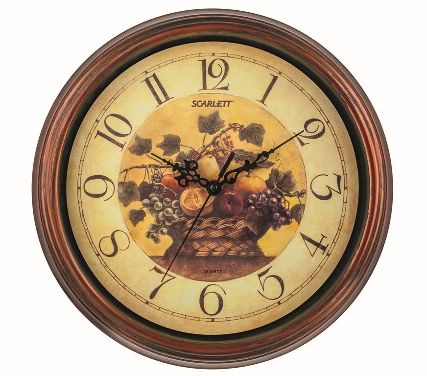 Часы настенные Scarlett, диаметр 30,5 см. SC - 25L25051 7_желтыйНастенные кварцевые часы Scarlett, изготовленные из пластика, прекрасно впишутся в интерьер вашего дома. Круглые часы имеют три стрелки: часовую, минутную и секундную, циферблат защищен прозрачным пластиком. Часы работают от 1 батарейки типа АА напряжением 1,5 В (батарейка в комплект не входит). Часы бренда Scarlett - это надежность, качество и изящность стиля во все времена.Диаметр часов: 30,5 см.