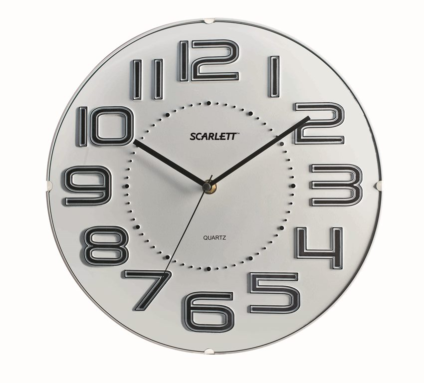 Часы настенные Scarlett, диаметр 32 см. SC - 55O94672Настенные кварцевые часы Scarlett в классическом дизайне, изготовленные из пластика, прекрасно впишутся в интерьер вашего дома. Круглые часы имеют три стрелки: часовую, минутную и секундную, циферблат защищен прозрачным пластиком. Часы работают от 1 батарейки типа АА напряжением 1,5 В (батарейка в комплект не входит). Диаметр часов: 32 см.