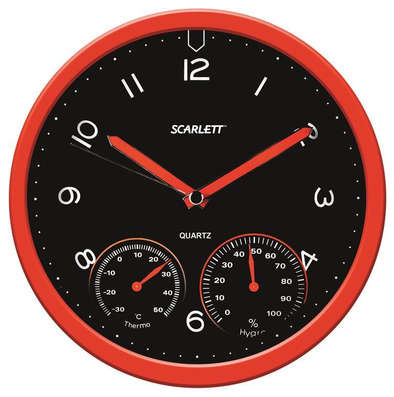 Часы настенные Scarlett, диаметр 31 см. SC - WC1011O2706 (ПО)Настенные кварцевые часы Scarlett в классическом дизайне, изготовленные из пластика, прекрасно впишутся в интерьер вашего дома. Круглые часы имеют три стрелки: часовую, минутную и секундную, циферблат защищен прозрачным пластиком. Часы работают от 1 батарейки типа АА напряжением 1,5 В (батарейка в комплект не входит). Диаметр часов: 31 см.