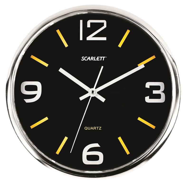 Часы настенные Scarlett, диаметр 30 см. SC - WC1009O94672Настенные кварцевые часы Scarlett в классическом дизайне, изготовленные из пластика, прекрасно впишутся в интерьер вашего дома. Круглые часы имеют три стрелки: часовую, минутную и секундную, циферблат защищен прозрачным пластиком. Часы работают от 1 батарейки типа АА напряжением 1,5 В (батарейка в комплект не входит). Диаметр часов: 30 см.