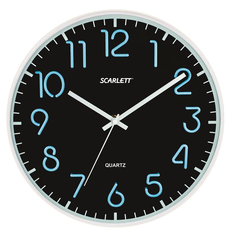 Часы настенные Scarlett, диаметр 30 см. SC - WC1007OSC - WCD10PНастенные кварцевые часы Scarlett в классическом дизайне, изготовленные из пластика, прекрасно впишутся в интерьер вашего дома. Круглые часы имеют три стрелки: часовую, минутную и секундную, циферблат защищен прозрачным пластиком. Часы работают от 1 батарейки типа АА напряжением 1,5 В (батарейка в комплект не входит). Диаметр часов: 30 см.