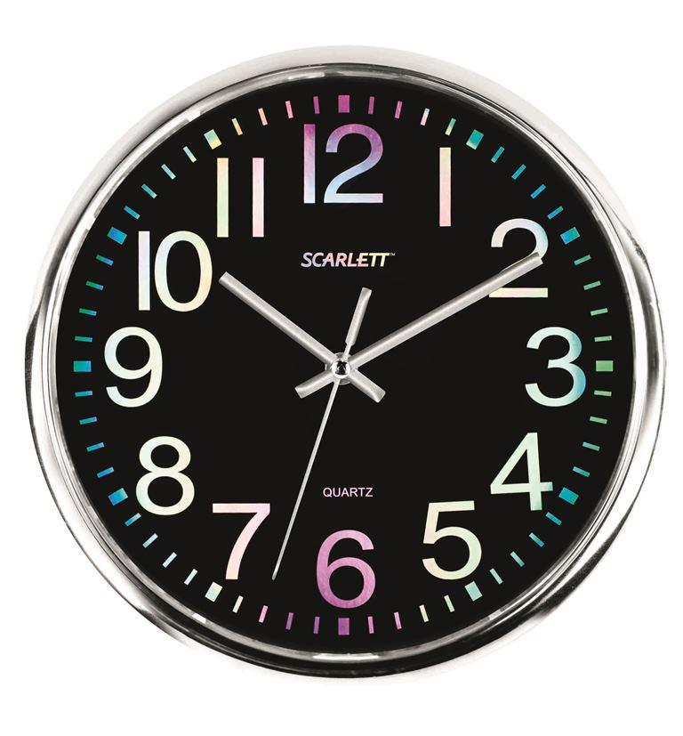 Часы настенные Scarlett, диаметр 30 см. SC - WC1010O118990-040Настенные кварцевые часы Scarlett в классическом дизайне, изготовленные из пластика, прекрасно впишутся в интерьер вашего дома. Круглые часы имеют три стрелки: часовую, минутную и секундную, циферблат защищен прозрачным пластиком. Часы работают от 1 батарейки типа АА напряжением 1,5 В (батарейка в комплект не входит). Диаметр часов: 30 см.