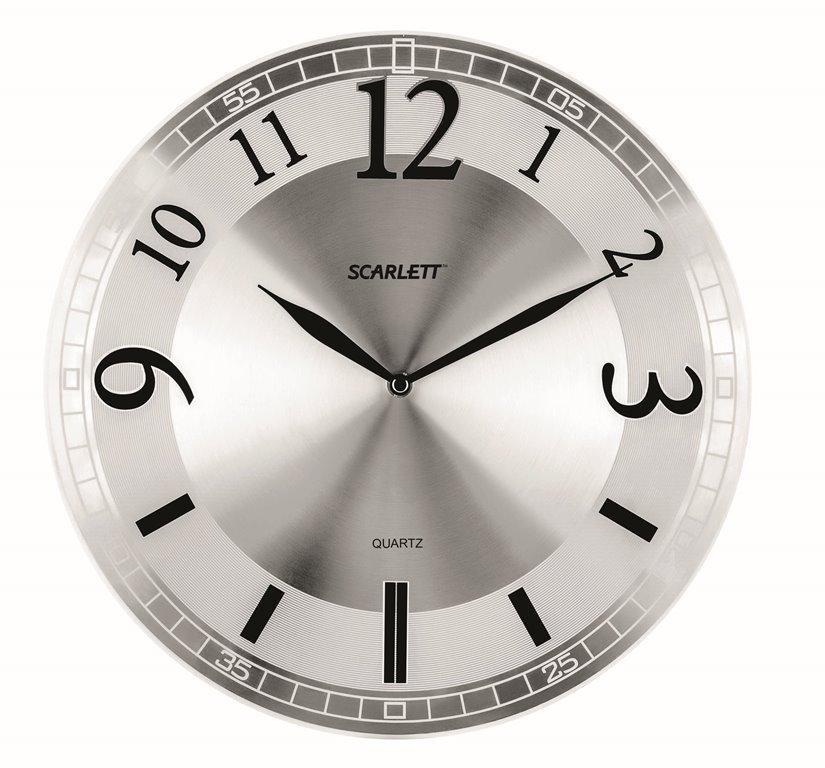 Часы настенные Scarlett, диаметр 30,3 см. SC - 55NSC - 25FНастенные кварцевые часы Scarlett, изготовленные из пластика, прекрасно впишутся в интерьер вашего дома. Круглые часы имеют три стрелки: часовую, минутную и секундную, циферблат защищен прозрачным пластиком. Часы работают от 1 батарейки типа АА напряжением 1,5 В (батарейка в комплект не входит). Диаметр часов: 30,3 см.