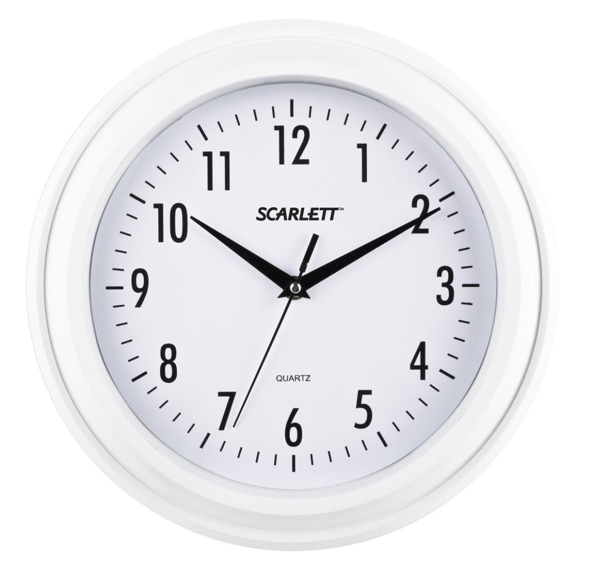Часы настенные Scarlett, цвет: белый, диаметр 30,5 см300074_ежевикаНастенные кварцевые часы Scarlett в классическом дизайне, изготовленные из пластика, прекрасно впишутся в интерьер вашего дома. Круглые часы имеют три стрелки: часовую, минутную и секундную, циферблат защищен прозрачным пластиком. Часы работают от 1 батарейки типа АА напряжением 1,5 В (батарейка в комплект не входит). Диаметр часов: 30,5 см.