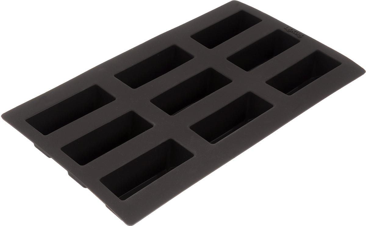 Форма для выпечки булочек Lekue, цвет: коричневый, 9 ячеек. 0620909М10M017FS-91909Форма для выпечки Lekue изготовлена из высококачественного силикона. Изделия из силикона очень удобны в использовании: пища в них не пригорает и не прилипает к стенкам, форма легко моется. Приготовленное блюдо можно очень просто вытащить, просто перевернув форму, при этом внешний вид блюда не нарушится. Изделие обладает эластичными свойствами: складывается без изломов, восстанавливает свою первоначальную форму. Форма содержит 9 ячеек. Порадуйте своих родных и близких любимой выпечкой в необычном исполнении. Подходит для приготовления в микроволновой печи и духовом шкафу при нагревании до +220°С, для замораживания до -60°С. Можно мыть в посудомоечной машине. Размер формы: 30 х 17,5 см.Размер ячейки: 8 х 3 см.Высота стенок: 3 см.Количество ячеек: 9 шт.