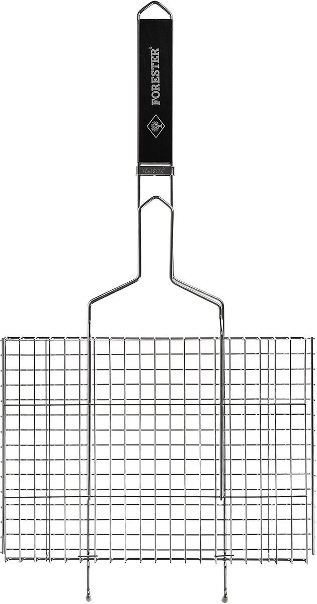 Решетка-гриль Forester, цвет: черный, 26 х 35 смBQ-N01_черная ручкаУниверсальная решетка-гриль Forester изготовлена из высококачественной стали с противокоррозионным покрытием. На решетке удобно размещать стейки, ребрышки, гамбургеры, сосиски, рыбу, овощи.Изделие предназначено для приготовления пищи на мангале, барбекю. Блюда получаются сочными, ароматными, с аппетитной специфической корочкой. Рукоятка изделия оснащена деревянной вставкой и фиксирующей скобой, которая зажимает створки решетки. Изогнутые усики-фиксаторы обеспечивают устойчивое положение на мангале.В комплекте с изделием рецепт цыпленка под ореховым соусом.Размер рабочей поверхности решетки (без учета усиков): 26 х 35 см. Общая длина решетки (с ручкой): 70 см.