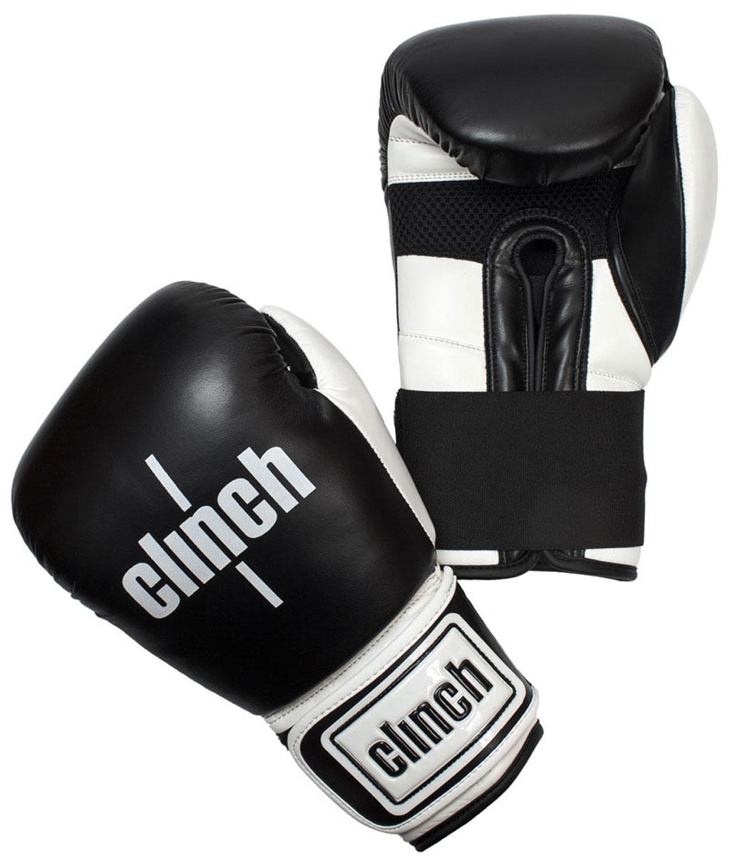 Перчатки боксерские Clinch Punch, цвет: черно-белый, 10 унций. C131adiBC02Боксерские перчатки Punch. Изготовлены из высококачественного, прочного эластичного полиуретана. Многослойный пенный наполнитель обеспечивает улучшенную анатомическую посадку, комфорт и высокий уровень защиты. Широкая резинка позволяет оптимально фиксировать запястье.