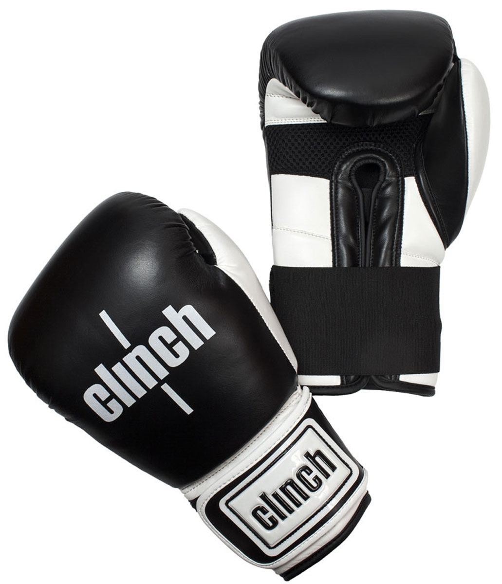 Перчатки боксерские Clinch Punch, цвет: черно-белый, 16 унций. C131SCG-2048cБоксерские перчатки Punch. Изготовлены из высококачественного, прочного эластичного полиуретана. Многослойный пенный наполнитель обеспечивает улучшенную анатомическую посадку, комфорт и высокий уровень защиты. Широкая резинка позволяет оптимально фиксировать запястье.