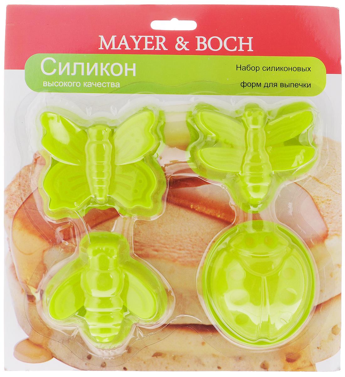 Набор форм для выпечки Mayer & Boch, цвет: салатовый, 4 штFS-91909Формы для выпечки Mayer & Boch, изготовленные из высококачественного силикона,выдерживающего температуру от -40°C до +210°C. В комплекте 4 формы,выполненные в виде насекомых. Если вы любите побаловать своих домашних вкусным и ароматным угощением повашему оригинальному рецепту, то формы Mayer & Boch как раз то, что вам нужно!Можно использовать в духовом шкафу и микроволновой печи без использованиярежима гриль.Подходит для морозильной камеры и мытья в посудомоечной машине.Размеры формы: 7 х 7 х 3 см.