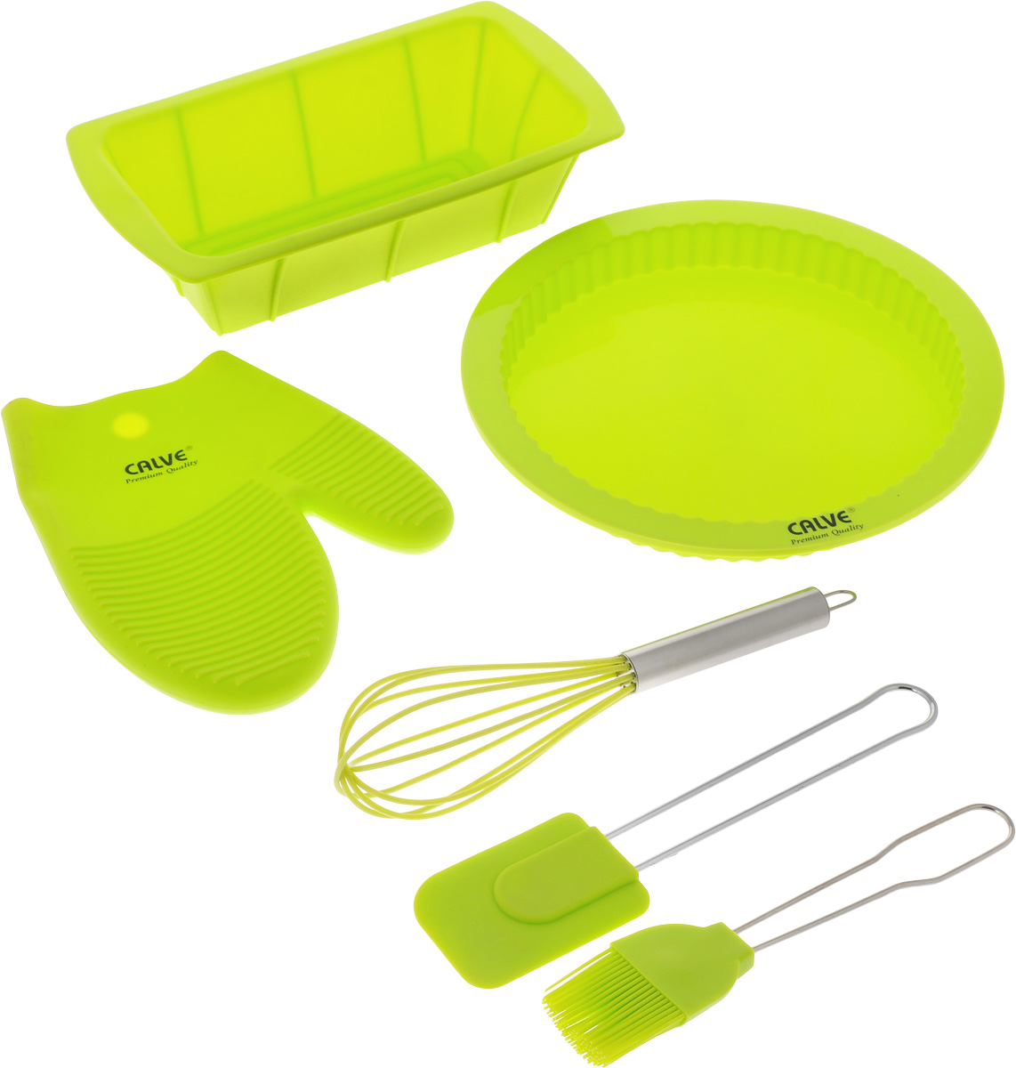 Набор для выпечки Calve, цвет: салатовый, 6 предметовFS-91909Набор для выпечки Calve состоит из формы для пирога, формы для кекса, прихватки-варежки, венчика, лопатки и кисточки. Это самые востребованные приборы для приготовления выпечки. Все предметы набора выполнены из высококачественного и термостойкого силикона. Ручки лопатки, кисточки и венчика выполнены из нержавеющей стали. Изделия безопасны для посуды с антипригарным и керамическим покрытием. Формы для выпечки можно использовать в духовых шкафах и микроволновых печах, морозильных камерах и мыть в посудомоечной машине.Набор для выпечки Calve станет отличным дополнением к коллекции ваших кухонных аксессуаров. Размер формы для кекса: 26 х 14 х 6,5 см.Диаметр формы для пирога: 25,5 см. Размер рабочей поверхности лопатки: 8,5 х 6 х 1 см.Длина лопатки: 25 см.Длина ворса кисти: 4 см.Длина кисти: 21 см.Размер прихватки-варежки: 22 х 17 х 2 см. Размер венчика: 7 х 7 х 25 см.