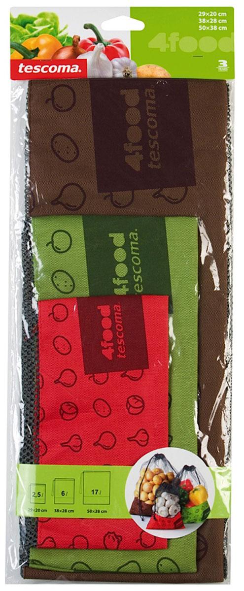 Набор сеток для пищевых продуктов Tescoma, 3 штU210DFНабор Tescoma состоит из трех сеток разного размера. Отлично подходит для хранения продуктов питания, фруктов, овощей, орехов и многого другого в холодильнике или кладовке. Изделия выполнены изнепромокаемой сетки, имеют непромокаемое дно и стяжку. Мыть под проточной водой с небольшим количеством моющего средства. Протереть сухой тряпкой сразу после очистки.Размер сеток: 29 х 20 см; 38 х 28 см; 50 х 38 см.