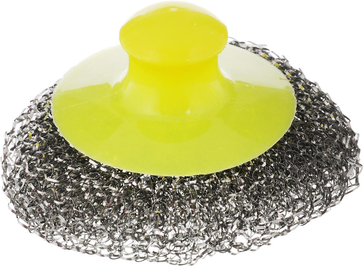 Мочалка для посуды Хозяюшка Мила, металлическая, с пластиковой ручкой, цвет: стальной, желтыйTD 0187Металлическая мочалка для посуды Хозяюшка Мила эффективно устраняет сильные загрязнения. Имеет долгий срок службы, не окисляется. Пластиковая ручка защищает руки от повреждений и обеспечивает комфорт при мытье. Прекрасно справляется с очисткой грилей, барбекю, решеток и других предметов для жарки. Не используйте для мытья посуды с антипригарным покрытием.