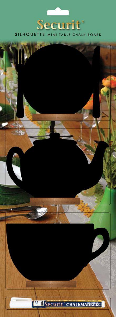 Набор меловых досок для сообщений Securit Тарелка,чайник,кружка + маркер в комплекте12723Голландская компания Securit по праву считается пионером в изобретении маркера на основе жидкого мела. Компания поставляет свои меловые доски не только для счастливых домашних хозяйств по всему миру, но и является глобальным поставщиком фирмы STARBUCKS.При помощи меловых дощечек различной формы, вы можете оставить свои сообщения и пожелания второй половине, такое, как : «Хочу борща !» или «Давай устроим романтический ужин !», нарисовать смешной смайлик или сердечко. Также подойдет для супругов, которые некоторое время не разговаривают между собой. При помощи сообщений можно перевести ситуацию в шутливую форму. Любите, прощайте и заботьтесь друг о друге!В зависимости от формы меловые доски Securit оснащены разными видами крепления :крючками для крепления, липкими лентами которые позволяют прикреплять доски к разным типам поверхностей или деревянной подставкой.К каждой доске прилагается белый меловый маркер! Маркер удаляется влажной губкой с поверхности доски, а так же с других поверхностей как стекло, пластик, метал. Другие цвета маркера можно заказать отдельно.Общайтесь больше, общайтесь с удовольствием – пишите сообщения на меловых досках от SECURIT !