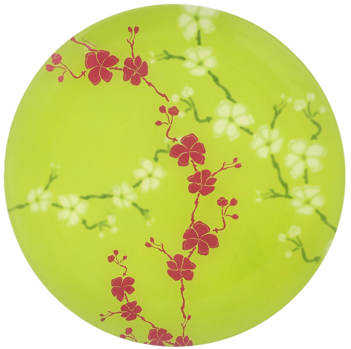 Тарелка обеденная Luminarc Kashima Green, диаметр 25 см54 009312Обеденная тарелка Luminarc Kashima Green изготовлена из высококачественного ударопрочного стекла. Тарелка декорирована красочным контрастным цветочным рисунком. Яркий дизайн придется по вкусу и ценителям классики, и тем, кто предпочитает утонченность. Такая тарелка прекрасно подходит как для торжественных случаев, так и для повседневного использования. Предназначена для подачи вторых блюд. Можно использовать в СВЧ и мыть в посудомоечной машине.Диаметр тарелки: 25 см.Высота тарелки: 2 см.