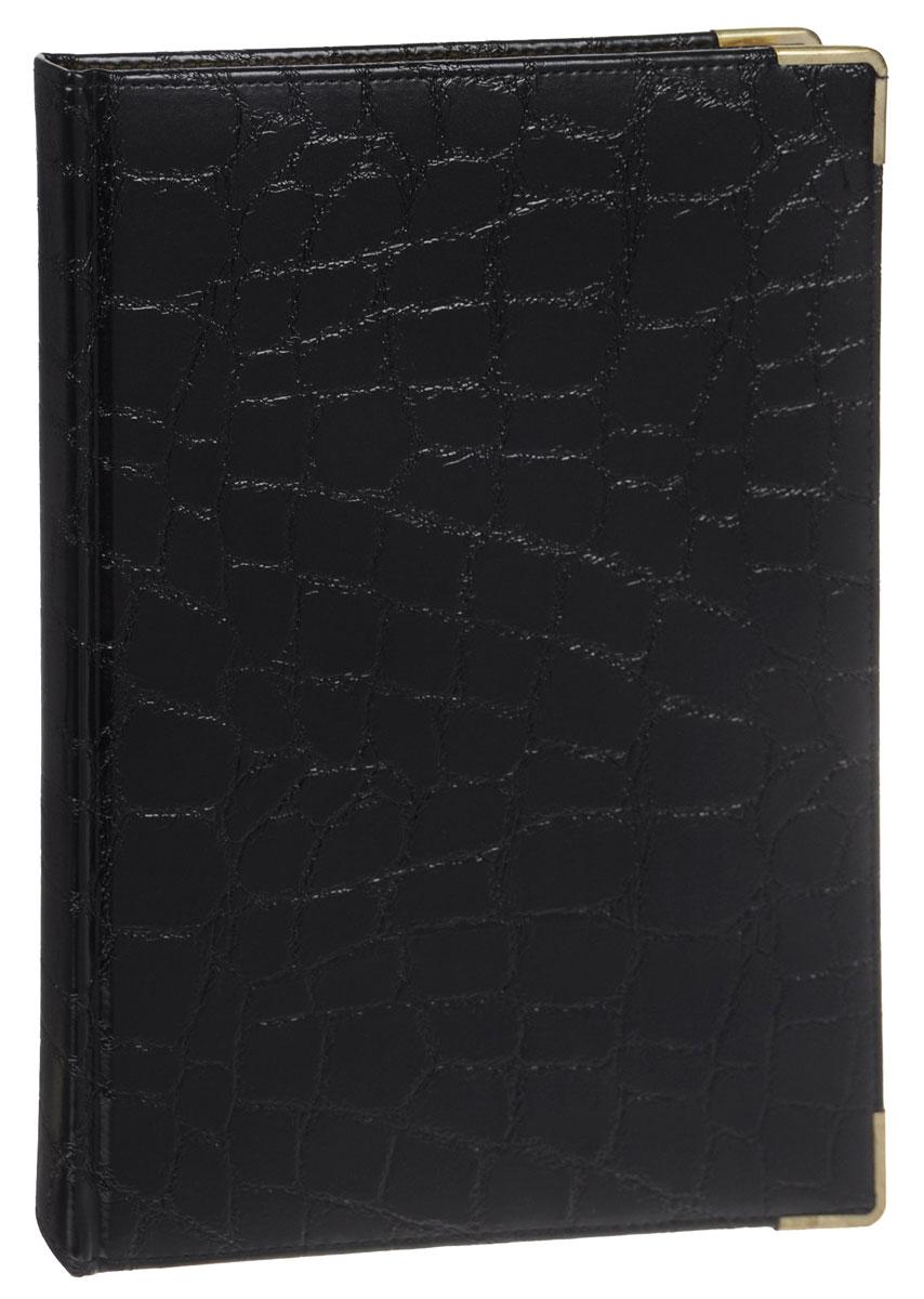 Listoff Книга для записей Grand Croco 160 листов в клетку цвет черныйPP-301Стильная книга для записей - это дополнительный штрих к вашему имиджу. Опрятная и лаконичная книжка может быть использована не только для личных пометок и записей, но и как недатированный ежедневник.Обложка выполнена из высококачественной искусственной кожи, с прострочкой по периметру и поролоновой подкладкой. Металлические скругленные углы защищают книгу от повреждений при активном использовании. Форзацы золотого цвета и двойное ляссе подчеркивают высокий статус изделия.Записная книжка Listoff станет достойным аксессуаром среди ваших канцелярских принадлежностей. Она пригодится как для деловых людей, так и для любителей записывать свои мысли, писать мемуары или делать наброски новых стихотворений.
