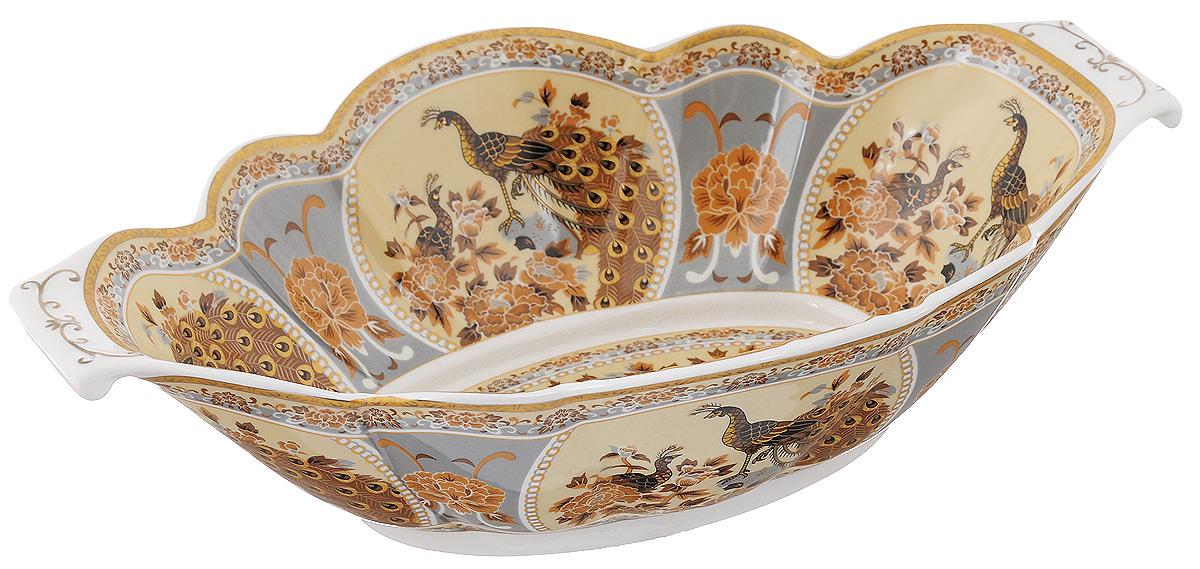 Блюдо для горячего Elan Gallery Павлин на бежевом, 33 х 21,5 смVT-1520(SR)Блюдо для горячего Elan Gallery Павлин на бежевом, изготовленное из керамики, станет украшением вашего праздничного стола. Изделие подходит для подачи горячего или шашлыка. В такой посуде можно приготовить блюдо и, не перекладывая на другую тарелку, подать его стол. Благодаря двум ручками его удобно переносить.Красочность оформления придется по вкусу тем, кто предпочитает утонченность и изящность. Не рекомендуется применять абразивные моющие средства.Не использовать в микроволновой печи.Размер блюда (с учетом ручек): 33 х 21,5 см.