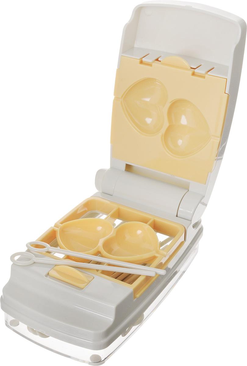 Набор для приготовления пирожного Tescoma Delicia, 58 предметов54 009303Набор для приготовления пирожного Tescoma Delicia включает в себя пресс для легкой формовки, 6 видов форм (шарик, сердечко, цветочек, деревце, грибочек, яичко), поднос для сервировки и 50 палочек многоразового использования. Изделия выполнены из высококачественного прочного пластика. Такой набор отлично подходит для приготовления и сервировки оригинальной формы пирожных на палочке без запекания, так называемых cake pops. Прилагаются инструкция по эксплуатации и рецепты. Можно мыть в посудомоечной машине. Размер пресса: 15,5 х 8,5 х 6,7 см. Размер форм: 8,5 х 8,5 х 3,4 см. Длина палочек: 10 см.Размер подноса: 20,5 х 20,5 х 2,5 см.