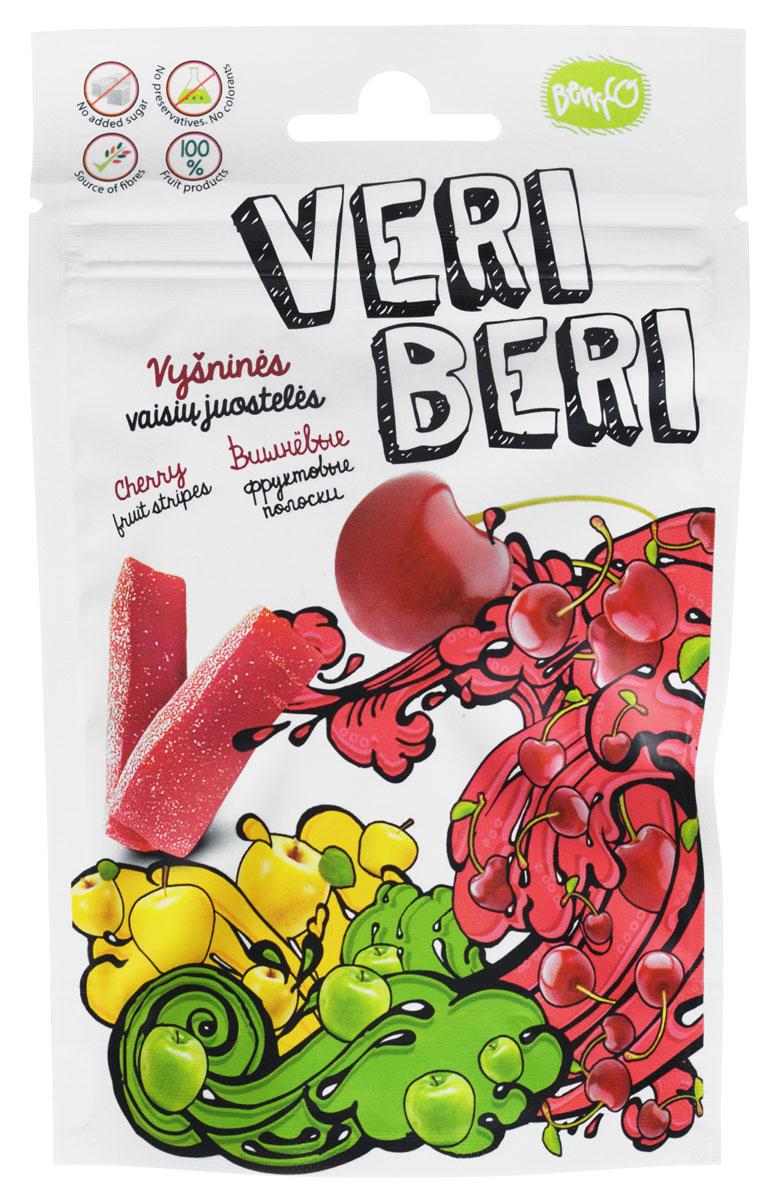 Veri Beri Фруктовые полоски с вишней, 50 г0120710Фруктовые полоски Veri Beri, сделанные только из натуральных фруктов. Без сахара, без консервантов, без красителей. Сладость продукта достигается только за счёт использования только натуральных сахаров, содержащихся в фруктовом соке и пюре. Содержит много клетчатки, что положительно влияет на пищеварительную систему.Используемые ингредиенты: фруктовый сок и концентрат пюре, фруктовый пектин, фруктовые волокна, натуральные фруктовые ароматизаторы.