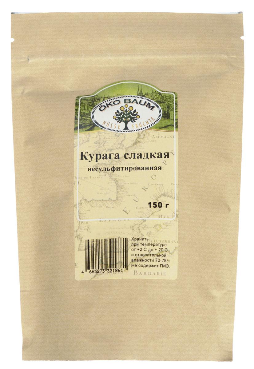 Oko Baum курага сладкая несульфитированная, 150 г0120710Курага - сушеный абрикос. Набор витаминов в кураге не слишком большой, хотя они есть: витамин С, А, РР и витамины группы В. Зато по содержанию минеральных веществ – железа, магния, калия, кальция и фосфора, курага значительно превосходит свежие плоды, а содержащиеся в ней вместе с органическими кислотами пектины выводят из организма даже радионуклиды и тяжёлые металлы.Курага – не только прекрасное общеукрепляющее средство. Этот сушёный фрукт способен предупредить и облегчить анемию, сердечные заболевания и заболевания ЖКТ, а также улучшить зрение. Если употреблять курагу в пищу постоянно, то вам не грозит закупорка сосудов или возникновение твёрдых опухолей; ваша кожа долго останется молодой, а волосы – сильными. Полезна курага и для тех, кто страдает сахарным диабетом, заболеваниями щитовидной железы и гиповитаминозом. Магния же в ней столько, что многие специалисты рекомендуют курагу для лечения малокровия и гипертонии.