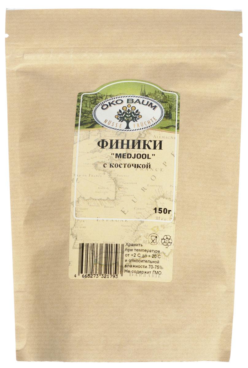 Oko Baum финики Medjool с косточкой, 150 г0120710Крупные, мягкие финики сорта Medjool отличаются сладким, медовым вкусом. Финики - один из самых древних видов фруктов, играющие ответственную роль в полноценном питание человека. Финики предпочтительнее других фруктов своими уникальными питательными свойствами и содержат: железо, фосфор, медь, марганец, магний, калий и многие другие элементы.Благодаря высокому содержанию калия они полезны людям с заболеваниями сердца. Финики обладают нежным, сладким вкусом и являются пищей, идеальной для легкого и быстрого пищеварения. Финики весьма калорийны, поэтому являются хорошим источником энергии, например, во время длительных походов. Рекомендуется употреблять как самостоятельное лакомство, а также добавлять в десерты и выпечку.