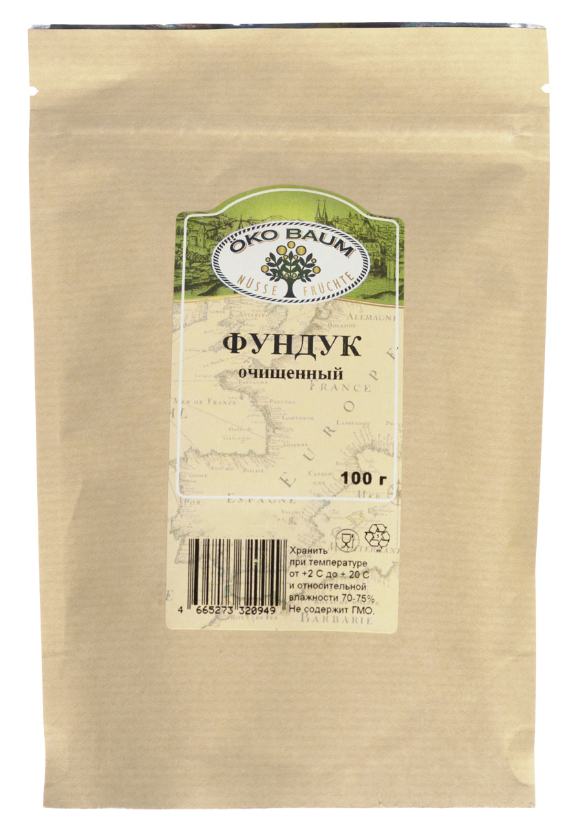 Oko Baum фундук очищенный, 100 г0120710Окультуренный потомок южной лещины носит название ломбардский орех, или фундук. В древности его считали магическим орехом, способным сохранить жизнь. В его составе – 60% масла, 20% белка, множество витаминов и минеральных веществ. По сравнению с другими видами орехов фундук содержит очень мало углеводов, поэтому его рекомендуют употреблять в пищу людям, страдающим сахарным диабетом. Полезен он и при заболеваниях сердечно-сосудистой системы. После длительной болезни фундук значительно укрепит силы организма. Находящиеся в нем кальций и калий оказывают благотворное влияние на стенки сосудов, способствуя их эластичности. Входящие в него полезные вещества – замечательное подспорье в борьбе с болезнями кровеносной системы, а также при малокровии. Фундук рекомендуют употреблять при варикозном расширении вен, трофических язвах, тромбофлебитах и проблемах с капиллярами. Фундук – уникальный дар природы. Употребляйте его правильно (примерно 50 г в день) и будьте здоровы!