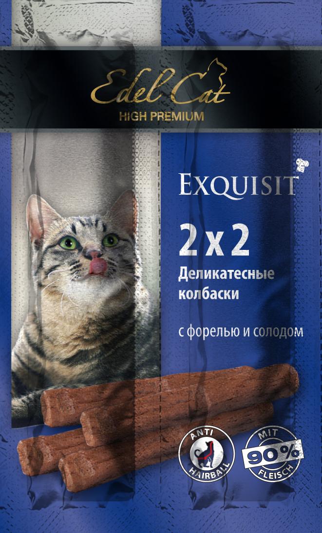 Edel Cat Колбаски-мини - форель солод 4 колбаски0120710Вкусные жевательные колбаски для кошек. На 90%состоят из свежего мяса с добавлением витаминно -минерального комплекса.Минеральные вещества: Сырой протеин 33,5%, влажность 28%, сырой жир 20%, Сырая зола 9%, сырая клетчатка2% Состав: Мясо и мясопродукты (90%), рыба и рыбные продукты (4% форели),растительные продукты (4% солод), минеральные вещества.