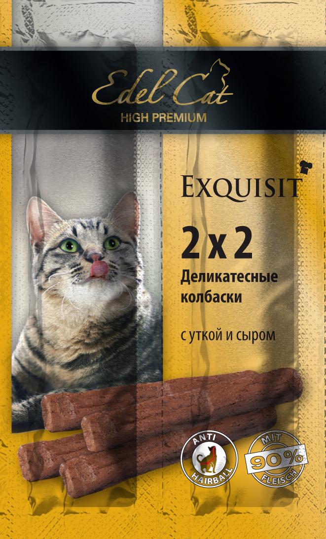 Edel Cat Колбаски-мини - утка сыр 4 колбаски1001874Вкусные жевательные колбаски для кошек. На 90%состоят из свежего мяса с добавлением витаминно -минерального комплекса.Минеральные вещества: Сырой протеин 33,5%, влажность 28%, сырой жир 20%, Сырая зола 9%, сырая клетчатка2% Состав: Мясо и мясопродукты (90% в т.ч. 4% утки), молоко и молочные продукты (4% сыра),минеральные вещества.