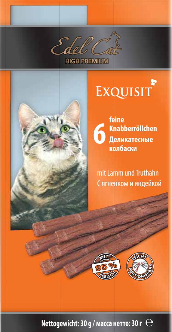 Лакомство для кошек Edel Cat, деликатесные колбаски, с ягненком и индейкой, 6 шт1002183Лакомство для кошек Edel Cat - вкусные жевательные колбаски для кошек. Они на 95% состоят из свежего мяса с добавлением витаминно -минерального комплекса.Состав: мясо и мясопродукты (95% в том числе 6% ягненок, 6% индейка), минеральные вещества. Минеральные вещества: сырой протеин 33,5%, влажность 28%, сырой жир 20%, сырая зола 10%, сырая клетчатка 2%.Товар сертифицирован.