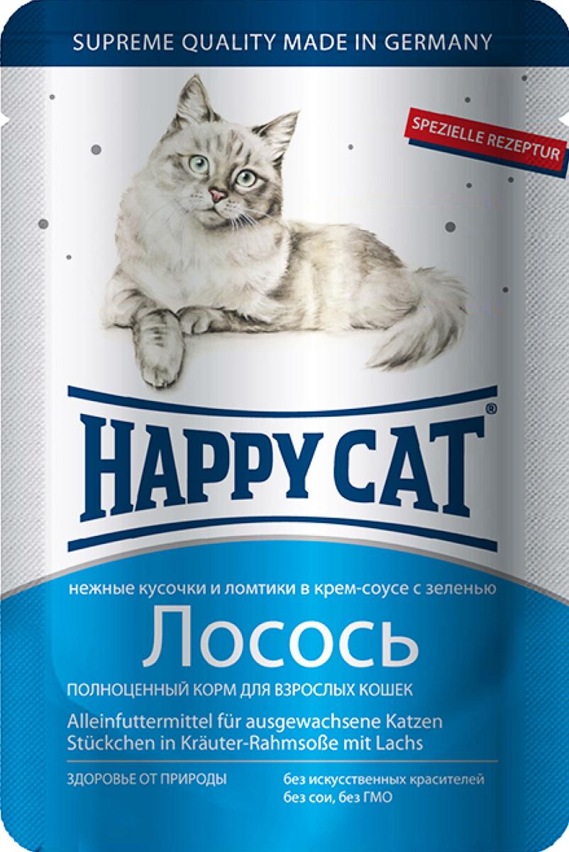 Консервы для кошек Happy Cat, лосось, 100 г0120710Консервы для кошек Happy Cat - полноценный корм, который обеспечивает правильное и разнообразное питание кошки. Это очень вкусный и натуральный корм предлагает качественно отобранные ингредиенты, чтобы порадовать даже самую привередливую кошку. Уникальная технология приготовления позволяет сохранить все ценные свойства натуральных продуктов, чтобы ваш питомец был здоров и полон сил.Состав: мясо и мясопродукты, рыба и рыбные продукты (лосось - 4,0%), злаки, молоко и молочные продукты, зелень (0,5%), минеральные вещества, инулин (0,1%).Аналитический состав: сырой протеин 8,5 %, сырой жир 5,5 %, сырая зола 2 %, сырая клетчатка 0,3 %, влажность 83%.Витамины/кг: витамин D3 250МЕ, витамин Е 15 мг, биотин 20 гр. Микроэлементы/кг: медь 1 мг, марганец 1 мг, цинк 18 мг. Антиоксиданты/кг: таурин 445 мг.Товар сертифицирован.