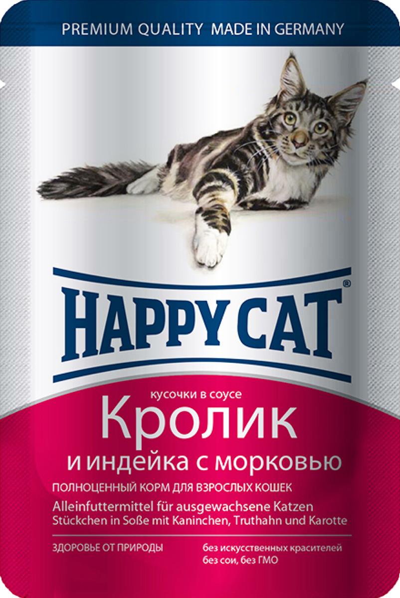 Консервы для кошек Happy Cat, кролик и индейка с морковью, 100 г1002316Консервы Happy Cat - это полноценный корм для кошек. Нежные кусочки из натуральных ингредиентов в ароматном желе прекрасно усваиваются и обладают хорошим вкусом, чтобы ваш котик с удовольствием съедал всю порцию без остатка. Консервы в желе для взрослых кошек приготовлены без добавления сои, искусственных красителей и ГМО. Корм содержит целый комплекс витаминов и минералов, а именно: витамины B, C, E, A, PP, цинк, калий, железо, натрий, кобальт и другие. Состав: мясо и мясопродукты (кролик 4%, индейка 4%), овощи (морковь 4%), злаки, минералы, инулин 0,1%.Пищевые добавки на кг: таурин 445 мг, витамин Д3 250 ме, витамин Е (альфа-токоферолацетат) 15 мг, медь (сульфат марганца 2, моногидрат) 1 мг, цинк 18 мг.Товар сертифицирован.