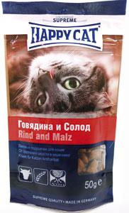 Лакомство для кошек Happy Cat, с говядиной и солодом, 50 г0120710Лакомство для кошек Happy Cat - лакомые подушечки, которые нормализуют пищеварение и выводят шерсть из кишечника. Можно использовать как перекус между кормлениями.Состав: злаки (4% солод), мясо и мясопродукты (4% говядины), масла и жиры, растительные белковые экстракты, рыба и рыбные продукты, растительные продукты ( 4% овсяных отрубей), молоко и молочные продукты, минеральные вещества.Аналитический состав: протеин 30%, жир 20%, клетчатка 4%, зола 5%.Витамин А 9000МЕ/кг, витамин D3 630МЕ/кг, витамин Е 90 мг/кг, железо 1800мг/кг. Антиоксиданты.Товар сертифицирован.