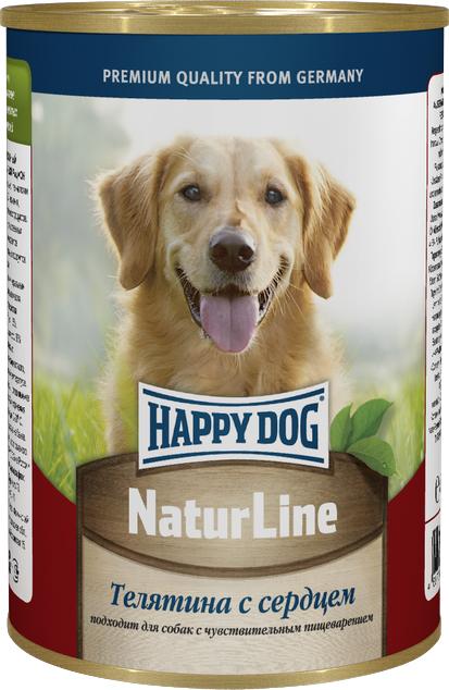 Консервы для собак Happy Dog Natur Line, телятина с сердцем, 400 г0120710Консервы для собак Happy Dog Natur line - это сбалансированный натуральный мясной рацион для собак. Консервы изготовлены по оригинальной технологии Интерквелл ГмБХ, Германия, из натурального мяса и мясопродуктов. Не содержит сои, искусственных красителей, консервантов и ГМО. Подходят для собак с чувствительным пищеварением.Состав: телятина, сердце, витаминно-минеральный комплекс, растительное масло.Аналитический состав: протеин 11%, жир 4,5%, клетчатка 0,5 %, влажность 80%.Товар сертифицирован.