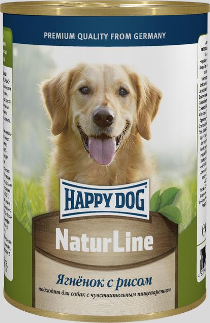 Консервы для собак Happy Dog Natur Line, ягненок с рисом, 400 г71434Консервы для собак Happy Dog Natur line - это сбалансированный натуральный мясной рацион для собак. Консервы изготовлены по оригинальной технологии Интерквелл ГмБХ, Германия, из натурального мяса и мясопродуктов. Не содержит сои, искусственных красителей, консервантов и ГМО. Подходят для собак с чувствительным пищеварением.Состав: мясо ягненка, рис , витаминно-минеральный комплекс, растительного масла.Аналитический состав: протеин 11%, жир 4,5%, клетчатка 0,5%, влажность 80%.Товар сертифицирован.