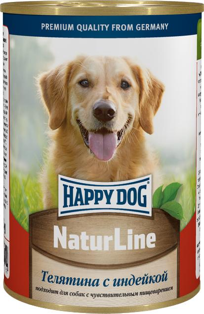 Консервы для собак Happy Dog Natur, с телятиной и индейкой, 400 г0120710Консервы для собак Happy Dog Natur предназначены для кормления взрослых собак всех пород. Основу рациона собаки должно составлять мясо, ведь именно мясо является источником животного белка - необходимого строительного материала всего организма. Консервы для собак Happy Dog Natur с телятиной и индейкой не содержат сою, искусственные красители и консерванты и приготовлены из ограниченного числа ингредиентов, поэтому вам не составит труда исключить из рациона вашего питомца все потенциальные аллергены. В основе консервов находится высококачественная телятина и индейка, которые придутся по вкусу каждому, даже самому разборчивому в еде животному. Телятина богата качественным белком, витаминами, минералами и содержит лишь небольшое количество холестерина, что положительно сказывается на здоровье сердечно-сосудистой системы. Среди входящих в состав телятины витаминов можно выделить витамины группы B, необходимые для нормальной работы ЦНС и протекающих в организме обменных процессов, антиоксиданты (витамин C и E), защищающие клетки от свободных радикалов и замедляющие процесс старения, и ниацин, способствующий выделению энергии для белкового обмена. В том числе телятина содержит такие важные минералы, как магний, натрий, цинк, калий и другие. Магний участвует в обменных процессах, выработке энергии, способствует очищению организма и регулирует деятельность мышц, а в комплексе с кальцием и фосфором участвует в формировании костей. Натрий активно взаимодействует с другими макро- и микроэлементами. Цинк среди прочего оказывает благоприятное воздействие на кожу и шерсть. Калий регулирует водно-солевой обмен, содействует преобразования глюкозы в энергию и необходим для сокращения мышц. Индейка служит источником легкоусвояемого белка, практически всех витаминов группы B, витамина A, E, PP и основных минералов.Состав: телятина, индейка, витаминно-минеральная комплекс, растительное масло.Питательные вещества: п