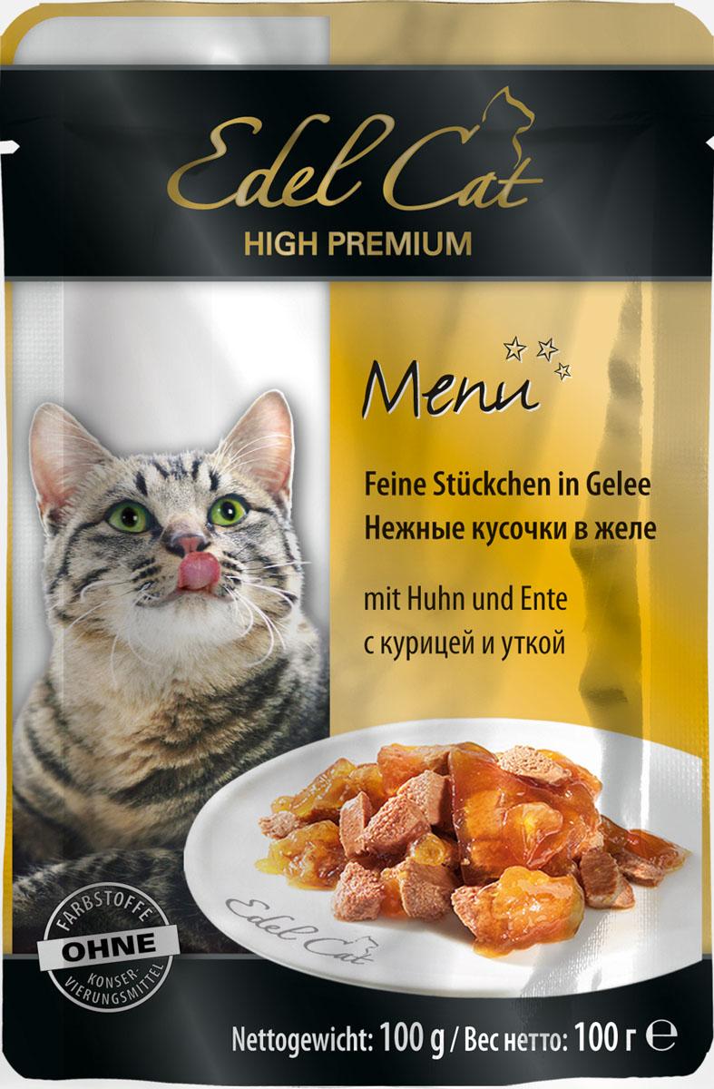 Консервы для кошек Edel Cat, с курицей и уткой, нежные кусочки в желе, 100 г8106Консервы Edel Cat - полнорационный консервированный корм для кошек. Изготовлен на основе мясопродуктов с добавлением витаминно-минерального комплекса.Минеральные вещества: влажность 82%, сырой протеин 8,5%, сырой жир 4,5% сырая зола 2,0%, сырая клетчатка 0,3%, витамин Д3 250 МЕ, цинк (сульфат цинка, моногидрат) 18мг, витамин Е (альфа – токоферолацетат) 15мг, медь (сульфат меди ||, пентагидрат) 1мг, марганец (сульфат марганца ||, моногидрат) 1 мг.Состав: мясо и мясопродукты (5% курицы, 5% утки), минеральные вещества, инулин (0,1%).