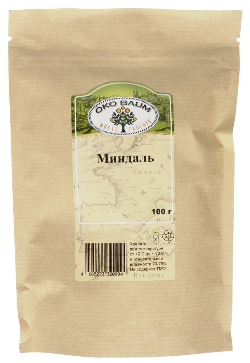 Oko Baum миндаль, 100 г0120710Орешки сладкого миндаля любят все. Миндальный орех богат витамином Е. Этот витамин – главный природный антиоксидант. Он защищает клетки от преждевременного старения, выводит токсины, накопившиеся в организме. Достаточно употреблять 20 грамм миндального ореха в день, чтобы удовлетворить суточную потребность организма в витамине Е.Миндальный орех Oko Baum – отличная профилактика онкологических заболеваний. Благодаря витамину Е значительно снижается риск возникновения опухолей. В продукте содержится много витаминов группы В. Они отвечают за нормальную работу нервной системы, повышают стрессоустойчивость и снижают эмоциональное перенапряжение. Витамины этой группы улучшают зрение, делают волосы и кожу более здоровыми. Поможет орешек и в борьбе с различными ОРВИ, причем не только для профилактики, но и для лечения. Миндаль, как и все орехи, богат белком. Поэтому его часто используют вегетарианцы для замены мяса и рыбы.