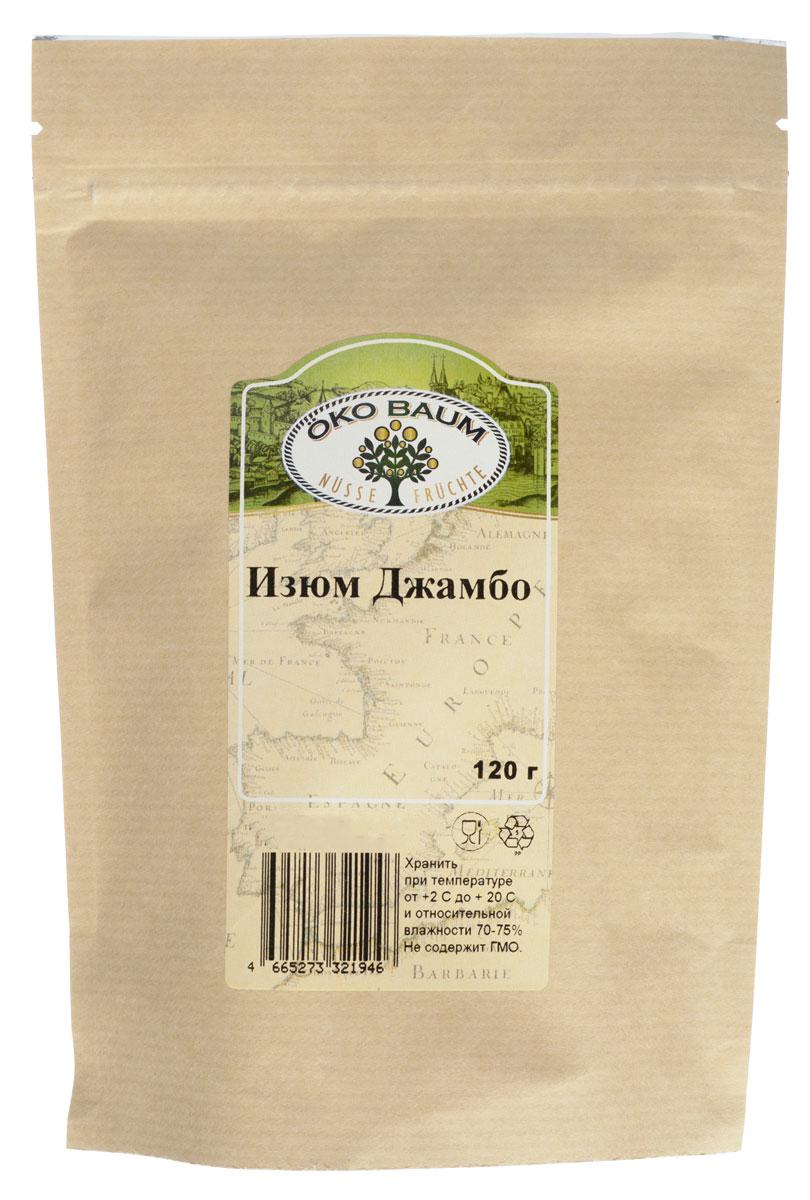 Oko Baum изюм Джамбо, 120 г0120710Из обширного перечня сухофруктов, изюм является самым распространенным и любимым лакомством. Симпатия и страсть к этому продукту нашла свое выражение и в человеческих отношениях. Каждому хочется, чтобы внутри него была изюминка, как символ чего-то особенного, оригинального и вкусного и привлекательного. Обладая массой полезных свойств, изюм широко используется не только в кулинарии, но и в народной медицине. Польза изюма для здоровья весьма значительна и неоценима. Каждая изюминка, не смотря на свою небольшую величину, является источником ценных, нужных и крайне полезных веществ для организма. Полезные свойства изюма объясняются пользой свежего винограда, но содержание ценных веществ в нем в 10 раз больше, чем в свежей ягоде. Благодаря большому содержанию витаминов группы В, изюм ценится своей способностью укреплять нервную систему, улучшать сон. Его можно применять, как успокоительное средство, снимающее напряжение и усталость.