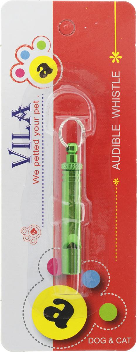 Свисток для собак Vila, ультразвуковой, цвет: зеленый, длина 5 см0120710Ультразвуковой свисток Vila с регулировкой частоты применяется для тренировки собак. Свисток издает высокочастотный звук, хорошо слышимый собаками, однако, мы его воспринимаем в 4 раза тише. Используя ультразвуковой свисток, вы сможете отрабатывать некоторые команды на значительном расстоянии или подзывать к себе собаку, если она далеко убежала. Частота звука меняется в зависимости от того, насколько закручен свисток, поэтому звук с различными частотами можно применять для проработки различных команд или для одновременных занятий с несколькими животными. Для удобства свисток имеет кольцо для шнура. Способ использования: 1. Поверните регулировочный болт, чтобы настроить собственный уникальный тон. 2. Поверните защелку, чтобы закрепить тоновый сигнал. И свисток готов к использованию!Дистанция использования: до 120 м.Длина свистка (без кольца): 5 см. Диаметр свистка: 1 см.Звуковая частота: 4500-10000 Гц.