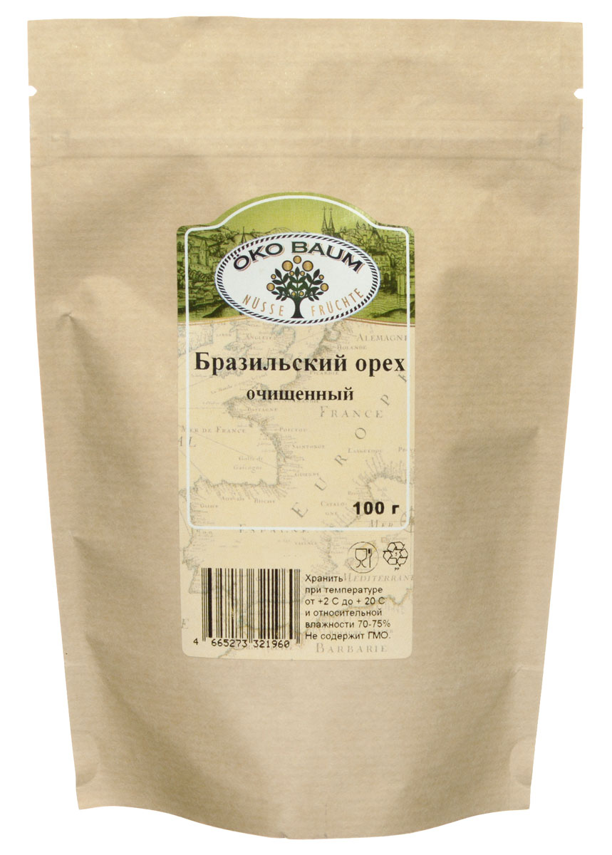 Oko Baum бразильский орех очищенный, 100 г0120710Польза бразильского ореха для здоровья чрезвычайно высока, плоды ореха состоят на две трети из жиров, причем основная часть это ненасыщенные. Подобно кешью и грецким орехам, бразильские обладают высоким содержанием протеинов и клетчатки. Клетчатка незаменима для кишечника, улучшает его работу, усиливает перистальтику, способствует очищению организма.Селен, входящий в большом количестве в состав бразильского ореха, оказывает профилактическое воздействие на возникновение и развитие онкологических заболеваний кишечника, груди, предстательной железы, легких. Чтобы получить суточную норму селена достаточно съесть 1-2 ореха. Поступающие из ореха полезные вещества помогают организму справиться с депрессией, стрессами, буквально восполняют жизненную энергию.