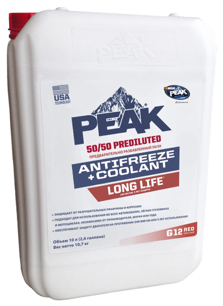 Антифриз PEAK LONG LIFE 50/50, готовый, цвет: красный G12; 10 л