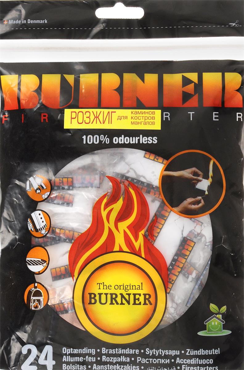 Средство для розжига Burner, 24 штAS 25Розжиг Burner экологически безопасен, удобен в хранении и перевозке - никакой грязи и запахов. Идеальное средство для розжига мангалов, каминов, печей и костров. Кроме того, розжиг Burner не боится сырости и поэтому идеален в походе, на рыбалке, охоте, и в других достаточно экстремальных условиях, когда необходимо разжечь костер для обогрева или приготовления пищи.В комплект входит 24 пакетика для розжига.Состав: высококачественные N-парафины, растительное масло.