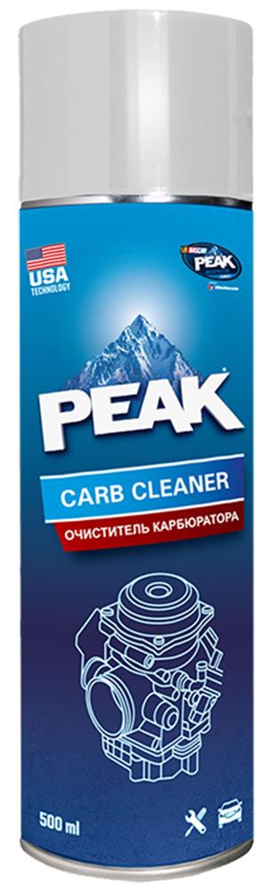 Очиститель карбюратора и дроссельной заслонки PEAK CARB CLEANER, 500 мл72/14/13Аэрозольный растворитель загрязнений PEAK CARB CLEANER (смолы, лак, парафин, накипь, нагар, сажа), образующихся в карбюраторе в процессе работы двигателя. Удаляет загрязнения с внешних и внутренних поверхностей, дроссельной заслонки, системы дозирования воздуха и отработанных газов (EGR). Восстанавливает исходные рабочие характеристики – повышает экономичность и приемистость работы двигателя. Качественное очищение полностью или частично разобранного карбюратора. Может использоваться как универсальный очиститель неокрашенных поверхностей деталей и механизмов.ПРЕИМУЩЕСТВА:Высокая проникающая способность Высокое давление распыленияЭкономичность в применениеНе требует демонтажа и разборкиУдаляет сложные загрязненияНе воздействует на озоновый слойПРИМЕНЕНИЕ:Внимание!! – Избегайте попадания на горячие поверхности, окрашенные и пластиковые детали.!! – Будьте внимательны при снятом воздушном фильтре, неаккуратное обращение с незакрепленными предметами может привести к их попаданию во впускной коллектор и двигатель, что может стать причиной серьезной неисправности.Снимите воздушный фильтрОбильно распылите на обрабатываемые поверхностиДайте составу впитатьсяПри наличии несмытых загрязнений удалите их салфеткой (ветошью) и повторите обработкуЗаведите двигатель.Распылите PEAK® CARB CLEANER в полости камер карбюратораПоддерживайте высокие обороты, чтобы не дать двигателю заглохнуть и обеспечить высокую скорость воздушного потока через карбюраторПо окончанию очистки дайте двигателю поработать на холостых оборотах 3-5 минут и соберите систему