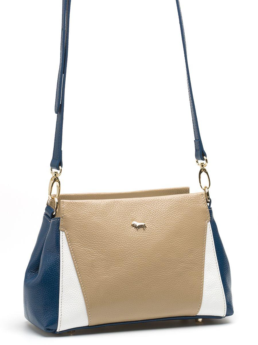 Сумка женская Labbra, цвет: бежевый, синий. L-SD102210130-11Изящная маленькая сумка Labbra выполнена из натуральной кожи с зернистой фактурой, декорирована золотистой фурнитурой и подвеской в виде символики бренда. Сумка имеет вместительное основное отделение на застежке-молнии. Внутри имеется прорезной карман на застежке-молнии и два накладных кармана для телефона и мелочей. Изделие оснащено практичным плечевым ремнем, выполненным из кожи, а также небольшими металлическими ножками, которые будут предохранять дно сумки от преждевременного износа, трения о твердые поверхности, а также от загрязнения. Прилагается фирменный текстильный чехол для хранения.Роскошная сумка внесет элегантные нотки в ваш образ и подчеркнет ваше отменное чувство стиля. Лаконичный цвет и простая форма помогут ей вписаться даже в самый сложный и продуманный гардероб.