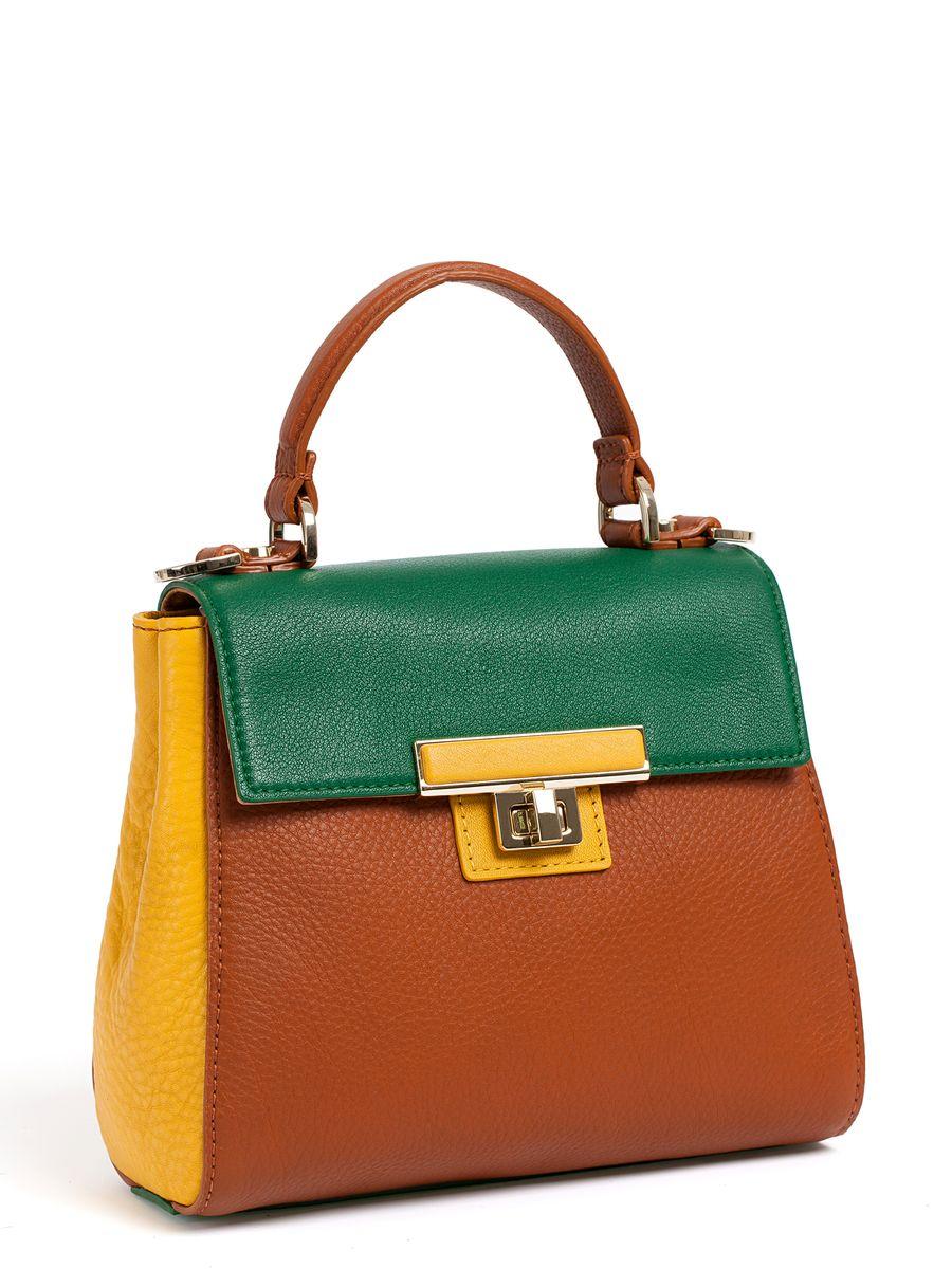 Сумка женская Palio, цвет: коричневый, желтый, зеленый. 14482A1-W2L39845800Оригинальная небольшая женская сумка Palio изготовлена из мягкой натуральной кожи комбинированных цветов. Внутри расположено главное отделение, один небольшой карман на молнии для мелочей и один открытый карман для телефона. На тыльной стороне расположен вшитый карман на молнии. Сумка закрывается клапаном на вертушку. Сумка оснащена съемным плечевым ремнем, длина которого регулируется с помощью пряжки, а фиксируется он с помощью замков-карабинов. Сумка - это самая верная спутница любой модницы. С аксессуаром от Palio ваш образ будет запоминающимся и оригинальным.