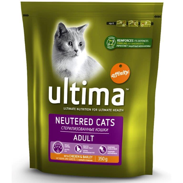 Корм сухой Ultima для стерилизованных кошек, с курицей и ячменем, 350 г0120710Сухой корм Ultima - высококачественный, комплексный и сбалансированный корм. Специально разработан для стерилизованных кошек, содержит уникальную смесь антиоксидантов, витаминов, минералов и незаменимых жирных кислот, которая укрепляет иммунную систему вашей кошки. Состав: курица (15%), дегидрированные белки птицы, пшеница, кукуруза, овес (4%), кукурузная глютеновая мука, дегидрированные белки свинины, гидролизованные животные белки, мякоть свеклы, животные жиры, растительное волокно, соль, рыбий жир, хлорид калия.Пищевые добавки на кг.: витамин А 32000 МЕ, витамин D3 2130 МЕ, витамин Е 450 мг, витамин С (аскорбил монофосфат натрия и кальция) 350 мг, таурин 1200 мг, L-карнитин 500 мг, витамин В6 (пиридоксина хлоргидрат) 13,3 мг, ионогидрат сульфата железа 356 мг (Fe: 117 мг), иодид калия 2,6 мг (I: 2 мг), пентагидрат сульфата меди 46 мг (Cu: 12 мг), моногидрат сульфата марганца 169 мг (Mn: 55 мг), моногидрат сульфата цинка 539 мг (Zn: 196 мг), селенит натрия0,3 мг (Se: 0,15 мг).Составные элементы: белок 35%, содержание жиров 12%, всего волокон 5%, неорганические вещества 7%, кальций 1%, фосфор 0,9%, натрий 0,7%, влага 8%. С антиоксидантами.Товар сертифицирован.