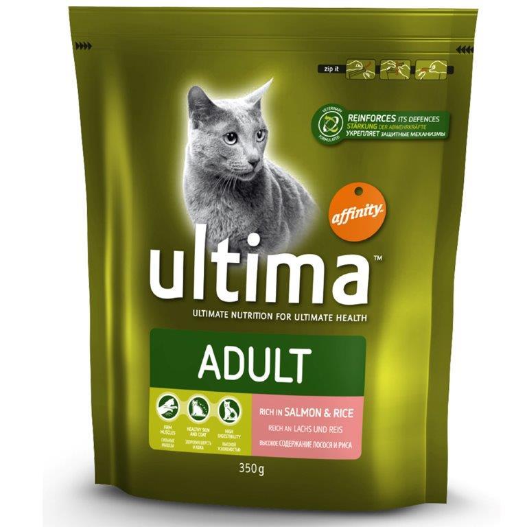 Корм сухой Ultima Adult, для взрослых кошек, с лососем, рисом, злаками, 350 г0120710Питательные корма марки Ultima Adult с высоким содержанием высококачественного белка из отборного мяса способствуют развитию крепких мышц. Кальций, фосфор и витамин D укрепляют кости и зубы животных, а сочетание цинка и жирных кислот Омега-3 и Омега-6 позволяет поддерживать хорошее состояние кожи и шерсти у кошек. Ингредиенты кормов легко усваиваются, а клетчатка из свекловичного жома и злаков способствует хорошему пищеварению и усвоению питательных веществ. Питательные корма марки Ultima повышают природный иммунитет кошек благодаря эффективному сочетанию антиоксидантов, клетчатки пребиотического действия и жирных кислот Омега-3. Таким образом, корма способствуют поддержанию здоровья кошек в оптимальном состоянии, доставляя вашим питомцам, наслаждение от каждого приема пищи.Состав: лосось (15%), рис (14%), обезвоженные белки мяса птицы, мука глютеновая кукурузная, кукуруза, пшеница, обезвоженные белки свинины, животный жир, гидролизованные белки животного происхождения, свекольный жом, рыбий жир, хлористый калий, соль.Товар сертифицирован.